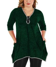 Another great find on #zulily! Green Heather Button-Detail Sidetail Tunic - Plus #zulilyfinds
