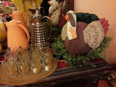 My cute turkey decor i put at the juice buffet