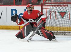 OTTAWA, ON - NOVEMBER Mike McKenna of the Ottawa Senators warms up prior to a game against the Buffalo Sabres at Canadian Tire Centre on November 2018 in Ottawa, Ontario, Canada. (Photo by Andre Ringuette/NHLI via Getty Images) Nhl Games, Hockey Goalie, Buffalo Sabres, Canadian Tire, Golf Bags, Captain America, Photo Galleries, Ottawa Ontario, Superhero