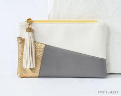 The Julia Clutch Gold White Grey by PYRITESKY on Etsy, $40.00