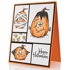 Happy Halloween card - painted the pumpkins on canvas and added a witch to make a set of 4 - came out really cute! Happy Halloween, Holidays Halloween, Halloween 2019, Handmade Halloween Cards, Handmade Crafts, Halloween Ideas, Handmade Rugs, Fall Cards, Holiday Cards