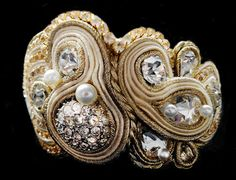 GOLDEN WEDDING BRACELET - SWAROVSKI CRYSTALS, PEARLS & SOUTACHE