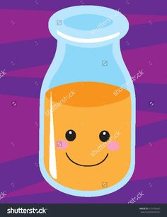 Glass Jar or Jug of Orange Juice With Happy Smiley Emoji Face On Purple Background Fruit Grocery Product Vector