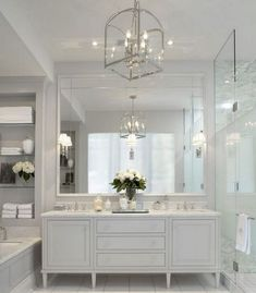 Beautiful Custom Kitchen Cabinets Ideas Around The World : Katydidandkid has inspirational photos, concepts and also skilled ideas on customized kitchen cabinets to give homeowners complete innovative freedom in their kitchen styles. Dream Bathrooms, Beautiful Bathrooms, Modern Bathroom, White Bathroom, Mirror Bathroom, Bathroom Faucets, Classic Bathroom, Master Bathrooms, Parisian Bathroom