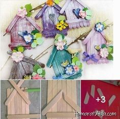 DIY Adorable House Magnets From Popsicle Sticks. Lolly Stick Craft, Diy Popsicle Stick Crafts, Popsicle Stick Houses, Diy Recycling, Diy And Crafts, Arts And Crafts, Basket Crafts, Diy Ostern, Easter Crafts For Kids