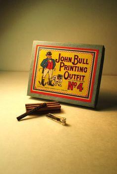 John Bull CHILDS PRINTING SET antique John Bull No. 4 Printing Outfit