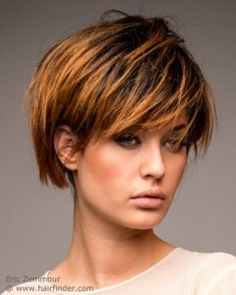 Short rounded bob with bangs and ombre hair coloring