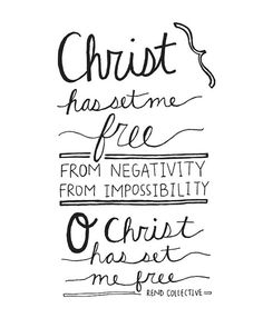 "Digital Download Print ""Christ has Set Me Free Rend Collective"" Inspirational Religious Lyrics Hand Lettering Typography"