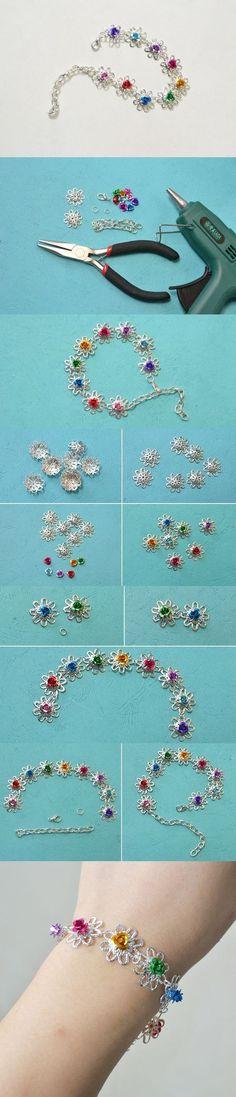 Making Simple Flower Beaded Bracelet with Bead Caps: