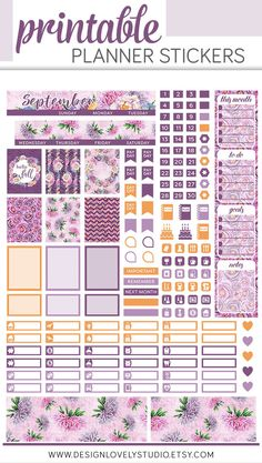 Pleasant purples and pretty yellow shades will brighten up your September spread with this printable planner stickers kit for Mini Happy Planner. Monthly Planner Printable, Printable Stickers, Free Printables, Cat Stickers, Pages D'agenda, Herbalife Shake Recipes, Mini Happy Planner, Pin On, Journal Stickers