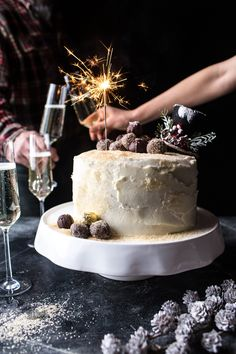 Happy New Year's Eve! Sparkling Chocolate Truffle Champagne Cake Recipe by @hbharvest @crate