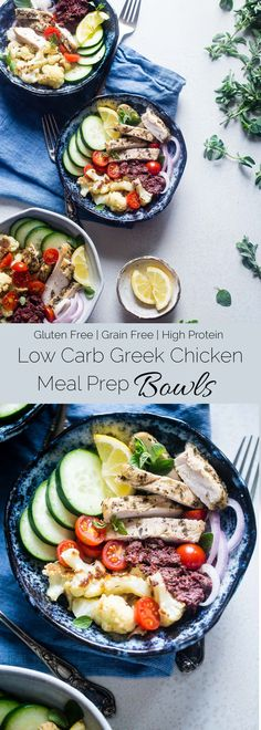 Greek Chicken Meal Prep Bowls - These low carb chicken bowls have roasted cauliflower and an olive tapenade. They're an easy, whole30 compliant, paleo meal that you can prep ahead, and their only 300 calories!   Foodfaithfitness.com   @FoodFaithFit