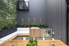 The Block 2019 Oslo: Courtyard reveals Timber Feature Wall, Stone Feature Wall, Black Feature Wall, Feature Wall Design, Courtyard Cafe, Small Courtyard Gardens, Courtyard Design, Small Courtyards, Modern Courtyard
