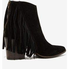 Steve Madden Country Suede Fringe Bootie ($78) ❤ liked on Polyvore featuring shoes, boots, ankle booties, ankle boot, black high heel booties, black leather booties, black boots, high heel booties and short boots