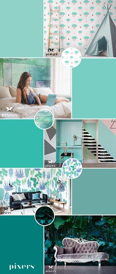 Malachite Self-Adhesive Wall Murals ✓ Eco-Friendly ✓ Online Configuration ✓ We will help you choose a pattern! Different Shapes, Malachite, Wall Murals, Adhesive, Kids Room, Palette, Mint, Rainbow, Interior