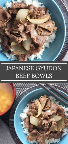 Japanese Gyudon Beef Bowls are the perfect one bowl meal. Tender beef and onions braised in a flavorful concoction over hot steamed rice.how can you go wrong? Meat Recipes, Asian Recipes, Free Recipes, Dinner Recipes, Yoshinoya Beef Bowl Recipe, Asian Fast Food, Gyudon, Beef And Rice