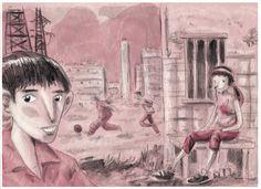 """Estate in periferia. Prova di illustrazione per """"Arrivano gli Gnummo Boys"""", Giunti Junioe, 2011. Grafite, acquerello su carta, fx."""