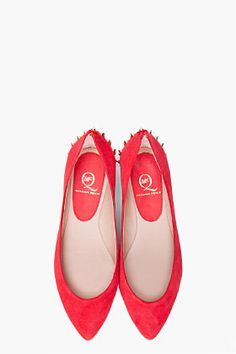 MCQ ALEXANDER MCQUEEN Red Studded Pointy Flats
