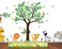 Dschungel Decal Baum Affe Giraffe Elefant Zebra von paintlessdeco