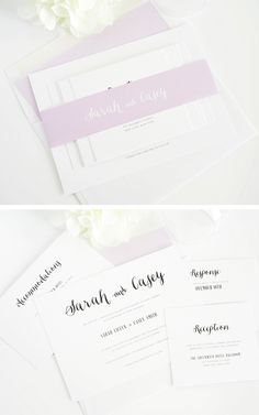 Whimsical Wedding Invitations in purple