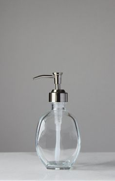 Geometric Recycled Glass Soap Dispenser  Clear by Rail19 on Etsy