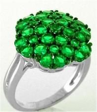925 STERLING SILVER GREEN SPINEL CLUSTER RING