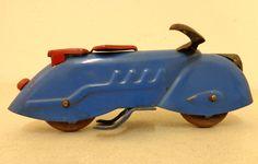 Vintage 1930s Marx Wyandotte Toy Motorcycle Zephyr Streamline Deco Pressed Steel #WyandotteMarx