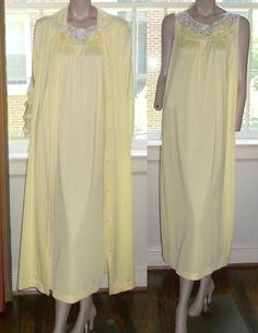 Gossard Artemis Peignoir Large Yellow 2 Piece SET Lace Long Sleeve Roomy #GossardArtemis #RobeGownSets