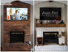 Surprising Cool Tips: Cottage Fireplace Window Seats fireplace and mantels benches.Country Fireplace Basements fireplace candles home tours.Fireplace And Tv Tv Covers. Fireplace Update, Paint Fireplace, Brick Fireplace Makeover, Fireplace Mantle, Fireplace Ideas, Fireplace Whitewash, White Wash Fireplace Brick, Brick Fireplace Remodel, Wooden Mantle