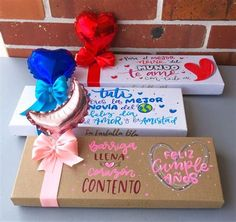 Bf Gifts, Boyfriend Gifts, Balloon Surprise, Mother's Day Gift Baskets, Presents For Boys, Hand Lettering Alphabet, Diy Gift Box, Minnie Mouse Party, Diy Birthday