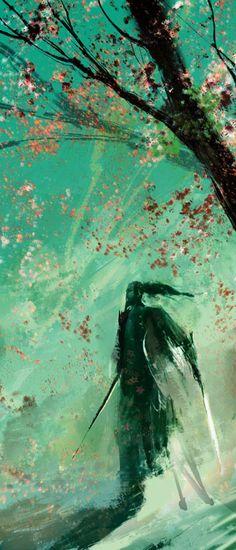 Samurai With Cherry Blossoms, by Joe Watmough.