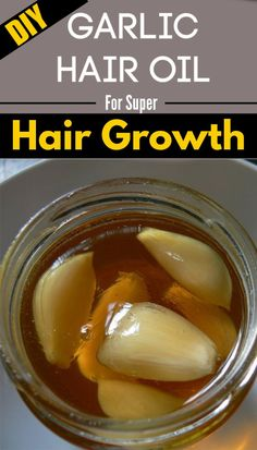 Here is a Effective DIY Garlic Hair Oil For Super Hair Growth that you can make at home using natural ingredients most of which you already have in your h Diy Hair Growth Oil, Hair Remedies For Growth, Garlic For Hair Growth, Quick Hair Growth, Extreme Hair Growth, Natural Hair Care, Natural Hair Styles, Natural Hair Growth Tips, Garlic Benefits