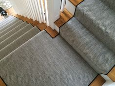 A herringbone carpet is an awesome way to set a certain part of your space apart from the rest.  #Herringbone_Carpet @momenirug #herringbone_stair_runner