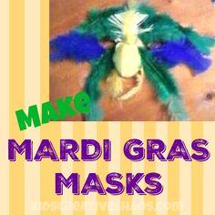 Make a Mardi Gras Mask Parrot Parakeet Feathers #HalloweenMask #BirdMask