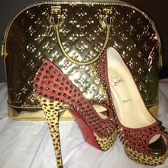 Spiked Peep-toed Louboutins in pink and leopard print