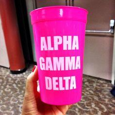 Alpha Gam hot pink cup
