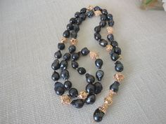 pearl necklace gold. freshwater pearls necklace. black pearls. strand pearl…