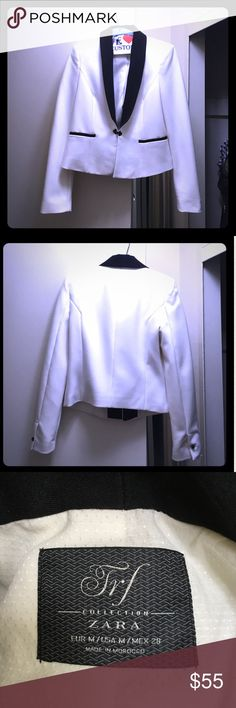 Zara blazer White w/ black...size M fits like a small Zara Jackets & Coats Blazers