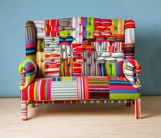 Striped Wing Back-patchwork sofa.
