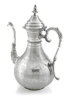 An Ottoman  silver  ewer bearing assay, sah and tughra marks, Turkey,  late 19th century