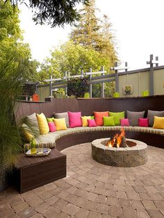 Patio Deck With Fire Pit.Beautiful Backyard Fire Pit And Sitting Area Houzz . Camp Patio LP Gas Fireplace Firepit On Sale Until Friday. Patio With Abalone Shell Pavers HGTV. Home and Family Outdoor Decor, Diy Pergola, Dream Backyard, Cozy Backyard, Outdoor Design Trends, Outdoor Fireplace, Outdoor Fire Pit Seating, Outdoor Design