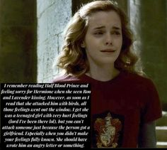 I remember reading Half Blood Prince and feeling sorry for...