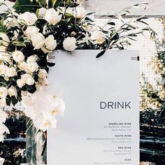 minimalist wedding bar menu sign So today we're sharing wedding ideas all about green, black and white colors including wedding invitations, decorations and cakes, which is perfect for fall weddings. Wedding Designs, Wedding Styles, Bodas Boho Chic, Our Wedding, Dream Wedding, Bali Wedding, Wedding Pics, Wedding Bride, Wedding Dresses