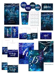 """Under the Stars """"galaxy"""" printable birthday party decorations and inspiration 