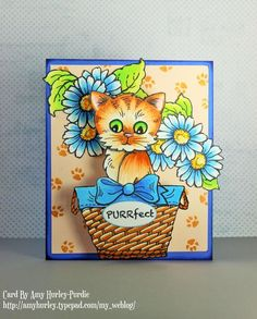 #cre8time for adorable popped up kitty cards like Amy Hurley-Purdie did with this one! #stampendous #popup