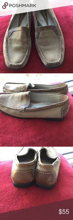 Rockport suede Mocs, 8 Light and dark brown suede and leather slipon shoes,  beautifully made Rockports, Cushioned interior shoe. In very good condition. Scuff on heel of one. Can see not worn more than 1-2 X. Bottom of shoes rubber and very clean, 8 Rockport Shoes Flats & Loafers