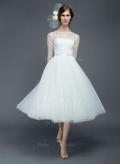 Robes de mariée - $118.17 - Forme Princesse Col rond Longueur mollet Tulle Dentelle Robe de mariée avec Ceintures (0025055886)