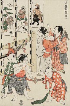 Boy's Festival. Ukiyo-e woodblock print, 1796, Japan, by artist Torii Kiyonaga