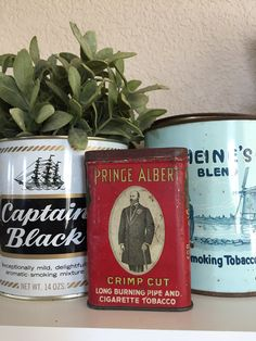 Vintage set of 3 tobacco tins Prince Albert Captain Black Heines tobacciana cigar pipe cigarette antique tins smoking collectible cans rusty by Atatteredtulip on Etsy