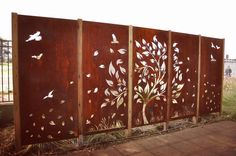 Our Tree with Scattered Leaves in custom 5 panel layout. Our Tree with Sc Outdoor Metal Wall Art, Metal Garden Art, Outdoor Walls, Outdoor Wall Panels, Outdoor Fun, Tor Design, Gate Design, Garden Fence Panels, Metal Garden Screens